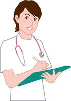 カルテに記入をする看護師