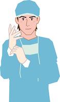手術用手袋を装着する医師