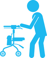歩行器を使用する人のピクトグラム