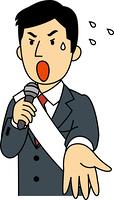 演説をする立候補者の男性