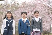 桜の前に並ぶ小学生