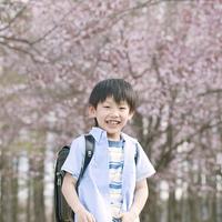桜の前で微笑む男の子