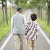手をつなぎ一本道を歩くシニア夫婦の後姿