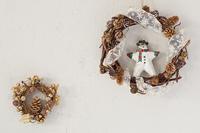 クリスマスリースと雪だるま