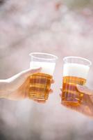 ビールで乾杯をする手元
