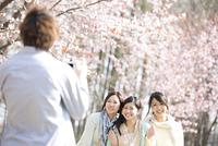 桜の前で記念写真を撮る3人の女性