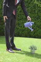植物に水をあげるビジネスマン