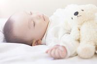 ぬいぐるみと眠る赤ちゃん