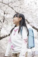 桜を見上げる小学生