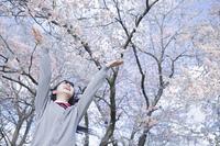 桜の花びらを撒く高校生