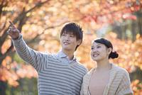 紅葉の前で微笑むカップル