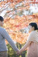 紅葉の前で手をつなぐカップル