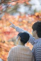 紅葉を眺めるカップルの後姿