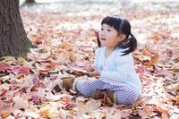 落ち葉の上で座る子供
