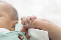 赤ちゃんの手をつなぐ