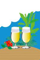 ビールとハイビスカスのグリーティングカード