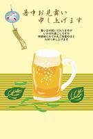 夏のビールと風鈴の暑中見舞い