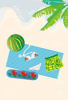 夏の休暇のビーチと水着のグリーティングカード
