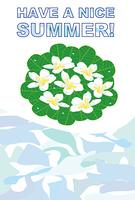プルメリアの花と葉のグリーティングカード