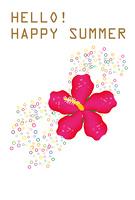ピンクのハイビスカスの花の暑中見舞い