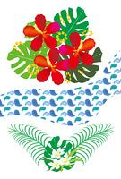 モンステラとハイビスカスとプルメリアの南国の花