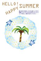 プルメリアの白い花とウミガメの暑中見舞い