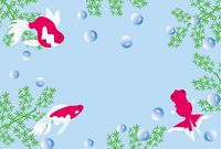 金魚と水草と泡のメッセージカード