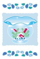 金魚鉢の涼しげなグリーティングカード