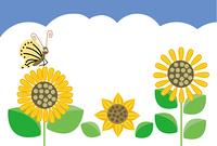 ひまわりの花と蝶のグリーティングカード