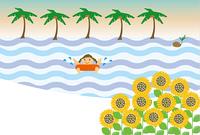 海水浴の女の子のメッセージカード