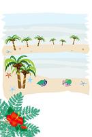 ヤドカリとヤシの木のビーチのメッセージカード