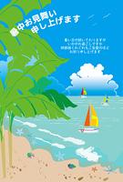 ヨットと入道雲の暑中見舞い