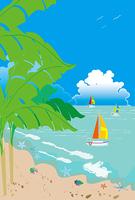 ヨットと入道雲の夏の海のイラスト