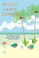 ヤドカリとヤシの木の南国のビーチの暑中見舞い