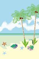 ヤシの木とヤドカリとヒトデの南国のビーチ