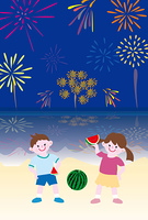 海辺の花火大会でスイカを食べる子供たち