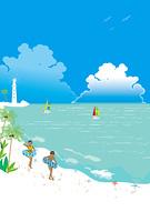 白い灯台の見える海辺で海水浴をする子供達