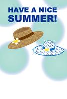 麦わら帽と水玉模様の帽子のグリーティングカード