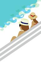 帽子をかぶった海辺のカップルのグリーティングカード