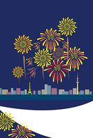 大都会の花火の夜空のポストカード