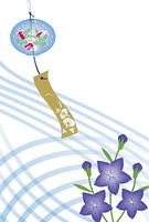 金魚柄の風鈴と桔梗の花の絵葉書