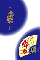 竿灯祭りと祭りの扇子のポストカード