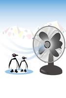 扇風機と氷の山のペンギンのポストカード