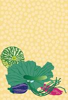 蓮の葉とかぼちゃとさつま芋の夏野菜の絵葉書