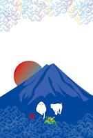 申年の白い猿と富士山のイラスト年賀状テンプレート