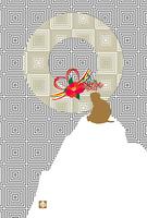 申年の猿と椿の花のイラスト年賀状テンプレート