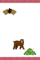 申年の日本猿のイラスト年賀葉書