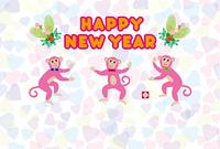 可愛い三匹のピンクのサルのイラスト年賀状テンプレート