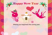 可愛い二匹のピンクのサルのイラスト年賀状テンプレート