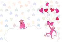 ピンクの風船を持ったサルのグリーティングカード